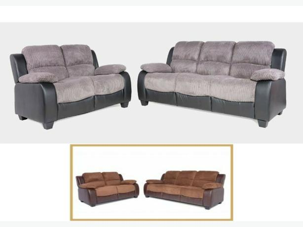 2str +2str high back fabric and leather suite only £599.99 this week