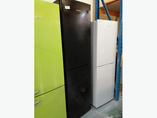 Hoover tall fridge freezer black with warranty at Recyk Appliances