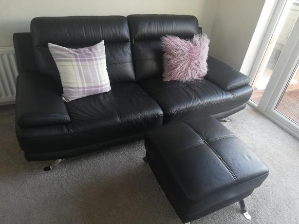 2 x 3 seat leather sofa and footstool