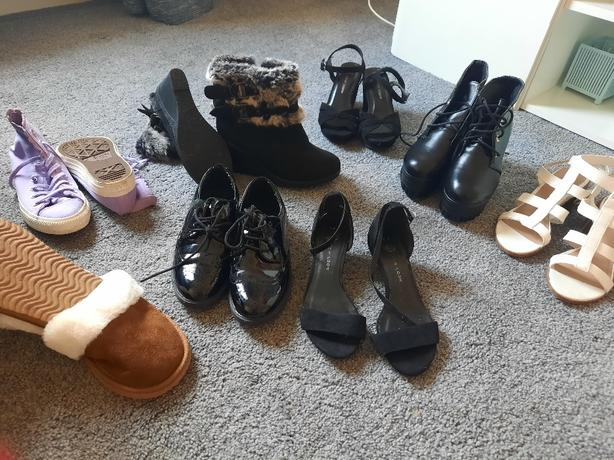 8 pairs of foot wear shoes boots trainers