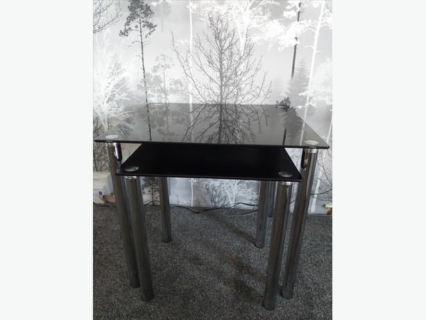 Black Glass  Nest of 2 Tables