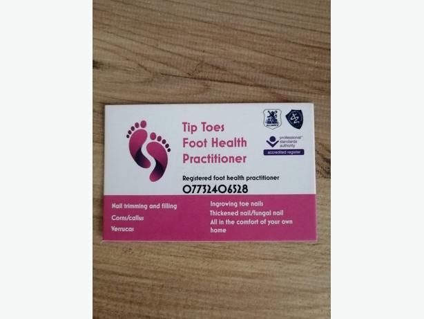 Tip toe's foot heath practitioner. Foot problems? Call us today