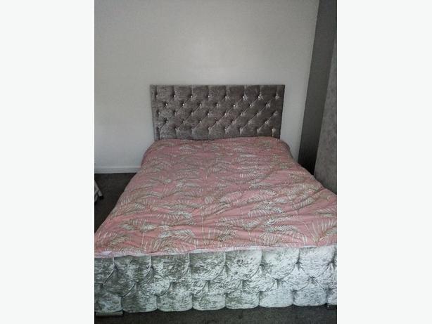 King-size grey velvet bedframe only
