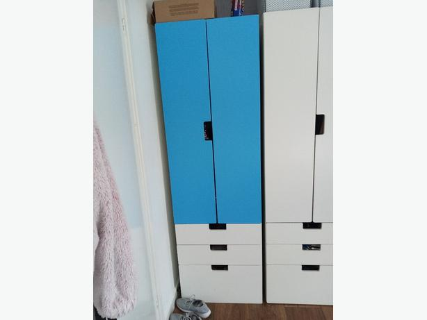 Kids tall ikea wardrobe (blue and white)