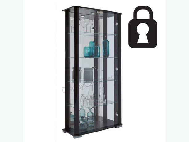 Ex Display black Stella double Glass Display cabinet -Lockable