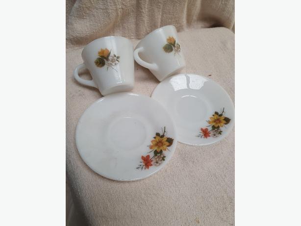 Cups, saucers, cut glass. ornaments