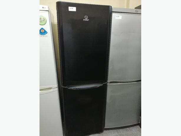 Indesit fridge freezer black with warranty at Recyk Appliances