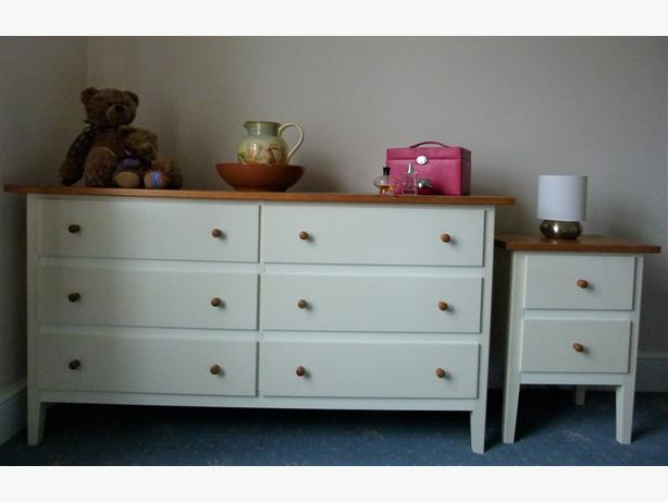 Bedroom 6 Drawer Chest of Drawers Shabby chic Solid Pine Top & 2 Drawer Unit