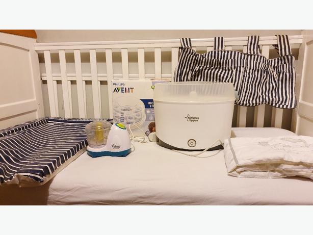 Baby cot 3 in 1 with mattress blender 2 bottle steriliser etc