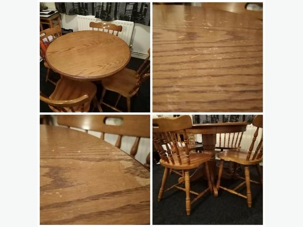 Solid Wood Pedestal Dining Table And Four Chairs