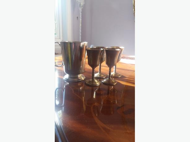 4 Sliver Plated Wine Goblets & Silver Plated Tankard