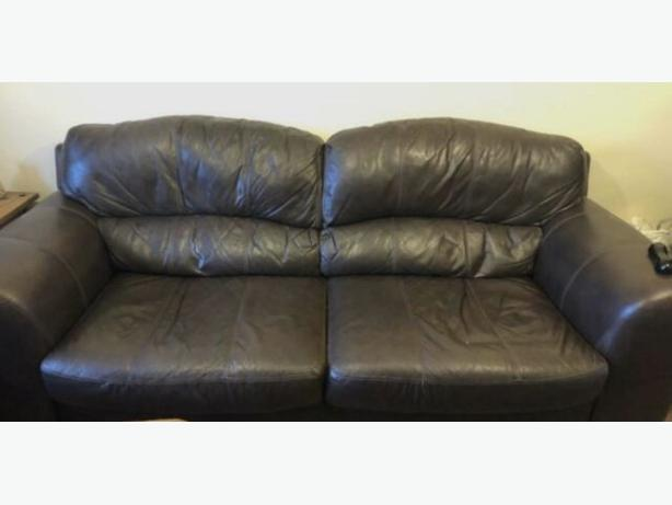 Dfs Brown real leather 2+3 sofas