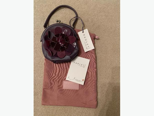 Purple Flower Radley Leather Handbag