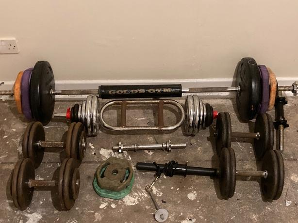 weights, bars and dumbbells