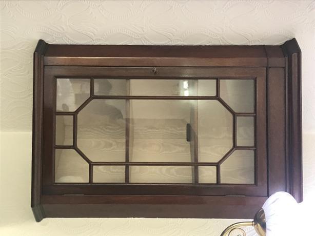 2 x wooden wall display units