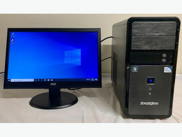 Zoomstorm Small Form Computer Desktop PC & AOC 20 Lcd Widescreen