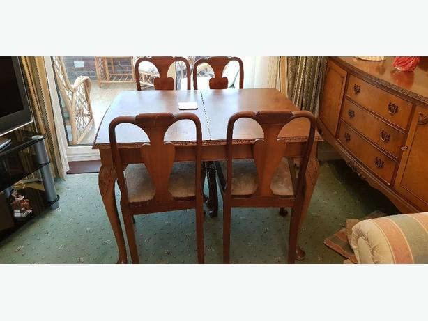 Walnut side board and table chairs