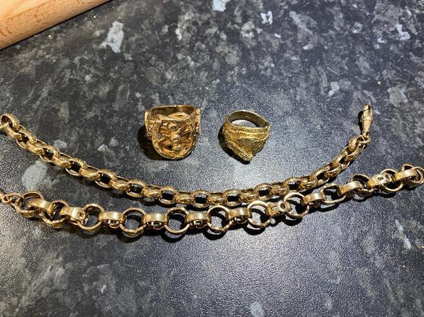 two belcher bracelets two rings