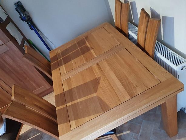 Real solid wood dining table and chairs