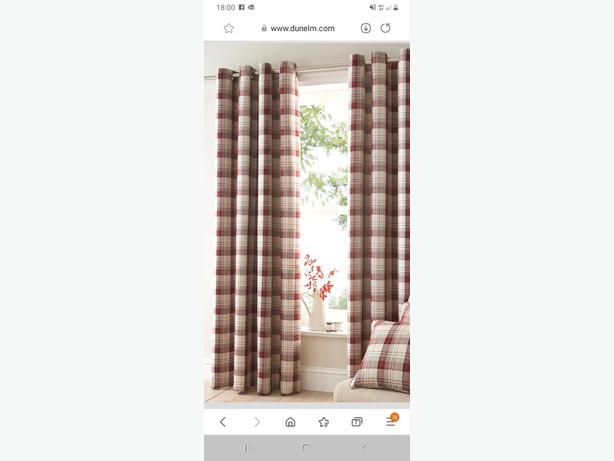 2 pairs red checked dunelm curtains plus matching 4x cushions