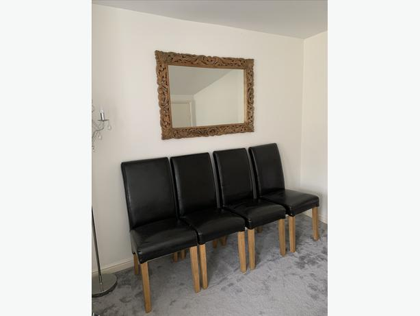 x4 Dark Brown Leather Dining Room Chairs