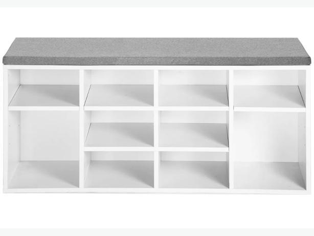 white shoe bench