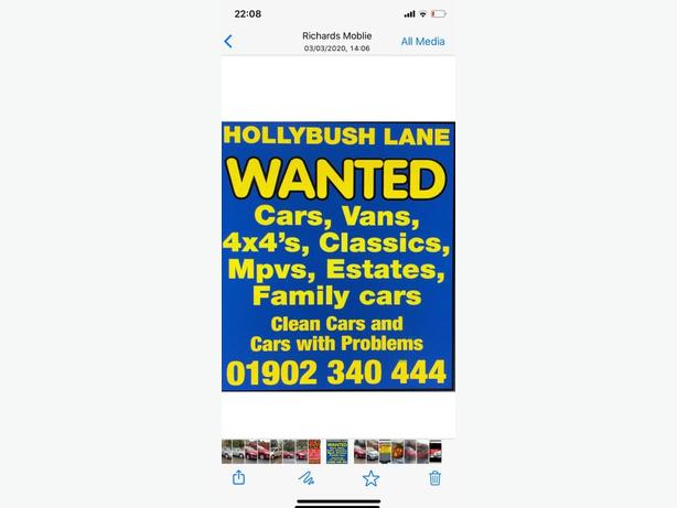 WANTED: low mileage family cars large small