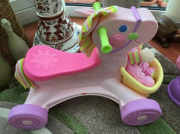 Fisher Price sit on pink horse with doll