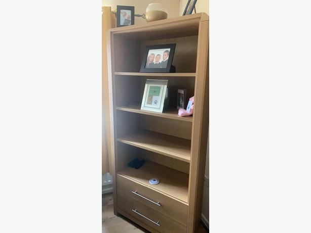 Solid oak style tall unit with two drawers