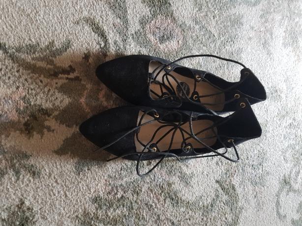 Black lace up leg shoe