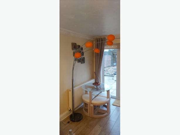 Danalite Lounge 5 Lamp Designer Floor lamp with 5 x orange glass shades