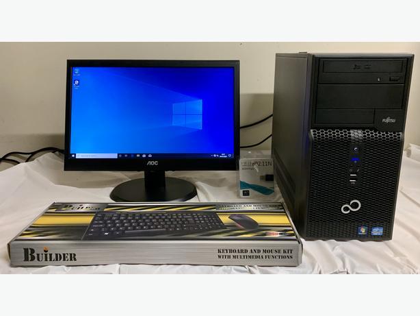FUJITSU I3 Tower Computer Desktop PC & 19 AOC LCD Widescreen