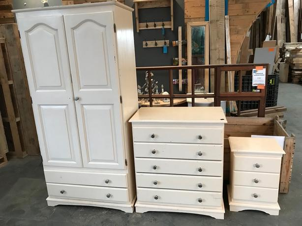Solid painted wooden wardrobe chest of drawers bedside cabinet