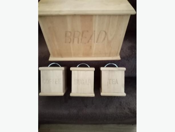 Tea sugar coffee and bread bin