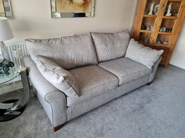 grey fabric 3 seater and 4 seater settees