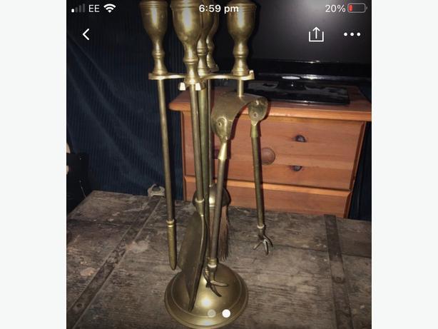 brass open fire set