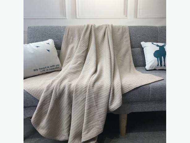 GUBOWIN 100% Natrual Cotton Soft Grey Throw Blanket