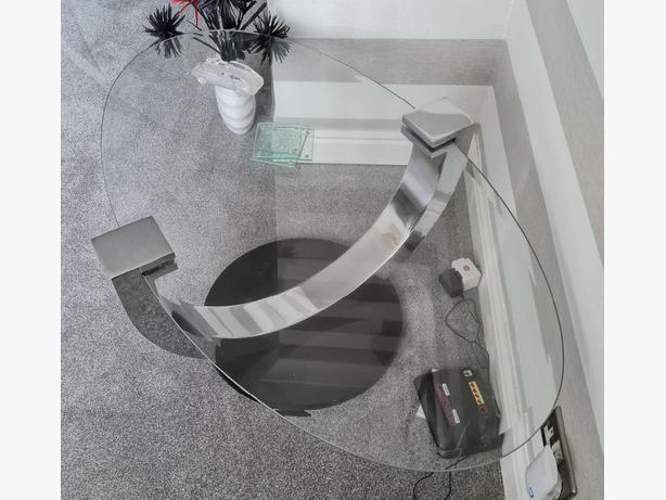 glass and chrome coffee table & lamp table