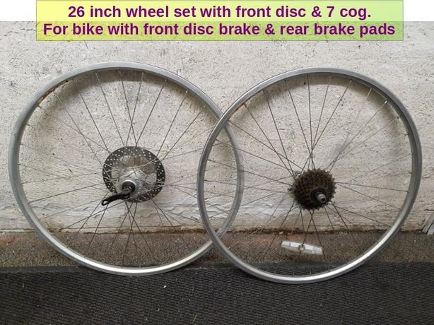 26 inch Bike wheel set. With 7 speed cog