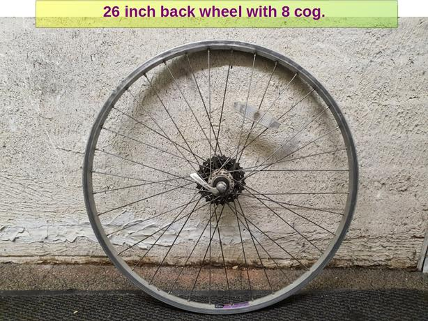 26 inch back wheel with 8 speed cog.
