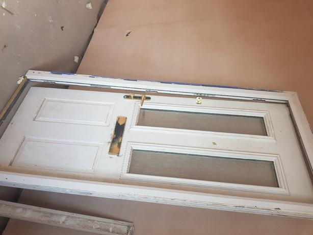 composite white front door and frame
