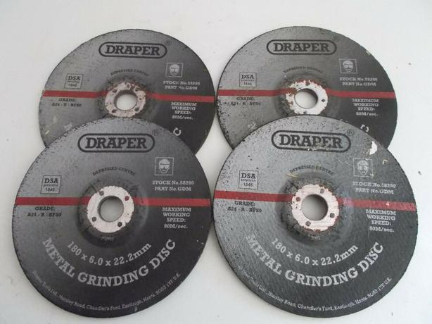 4x Draper 58290 180mm x 6mm x 22.2mm Steel Grinding Disc