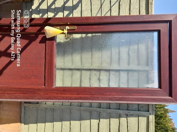 brown upvc half glazed door