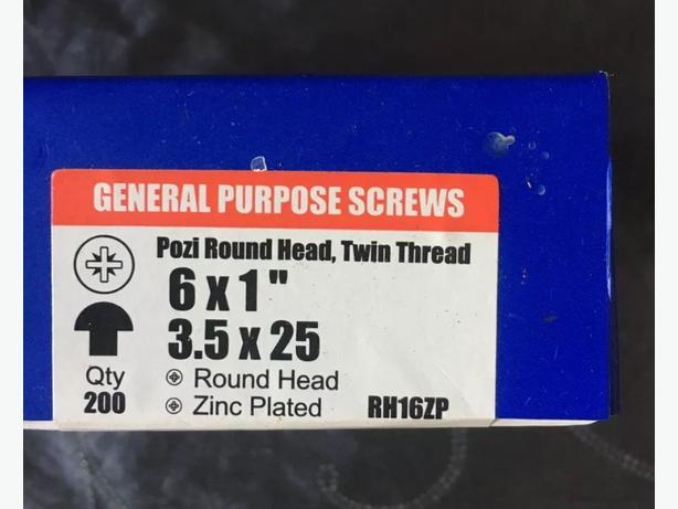 Pozi Round Head , Twin Thread Screws 200 Per Box. 15 Boxes Job Lot
