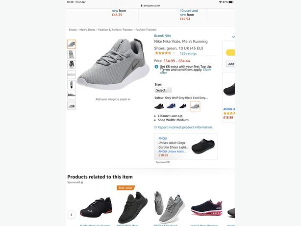Nike Mens Viale Trainers (Wolf Grey) Size 9 - Brand New, Unworn