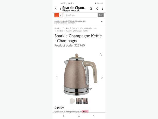 sparkle champagne kettle and toaster set