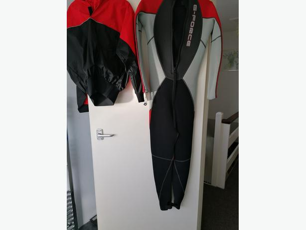 Wet suit and waterproof jacket