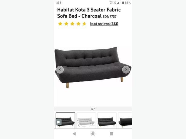 KOTA Charcoal fabric 3 seater sofa bed