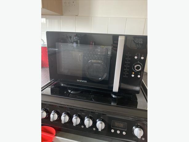Black microwave convection oven and grill
