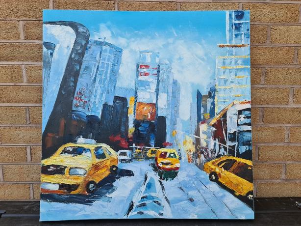 New York Yellow Taxi Cab Painting 70x70cm